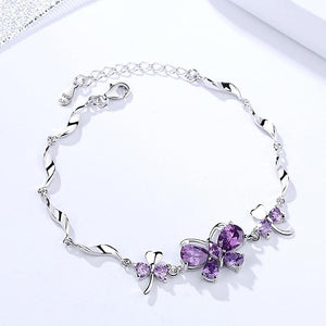 Butterfly Bracelet in Solid 925 Sterling Silver Purple or Yellow, Elegant, Feminine