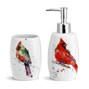 Cardinal Bath Set-Soap Pump and Tumbler in a Gift Box  VERY NICE! - The Pink Pigs, Fine Jewels and Gifts for People who Love Animals!