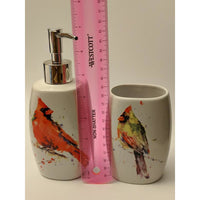Cardinal Bath Set-Soap Pump and Tumbler in a Gift Box VERY NICE!-The Pink Pigs, A Compassionate Boutique