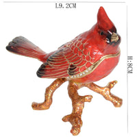 Red Cardinal Pewter Jewelry Trinket Box with Rhinestone Crystal Embellishment