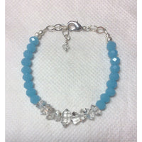 Caribbean Blue Chalcedony and Herkimer Diamond Bracelet-HANDMADE with love! 925 Silver Clasp-The Pink Pigs, A Compassionate Boutique
