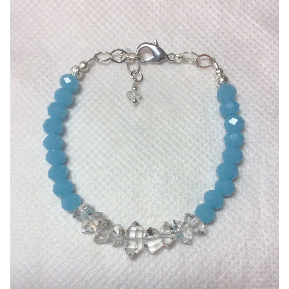 Caribbean Blue Chalcedony and Herkimer Diamond Bracelet-HANDMADE with love!  925 Silver Clasp - The Pink Pigs, Fine Jewels and Gifts for People who Love Animals!