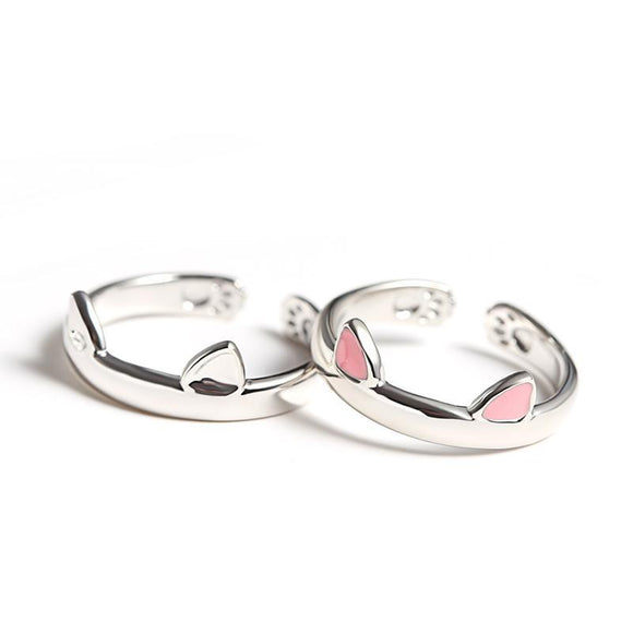 Cat Lovers! Cute Cat Ears and Paws Ring in 925 Sterling Silver-pink or silver! - The Pink Pigs, A Compassionate Boutique