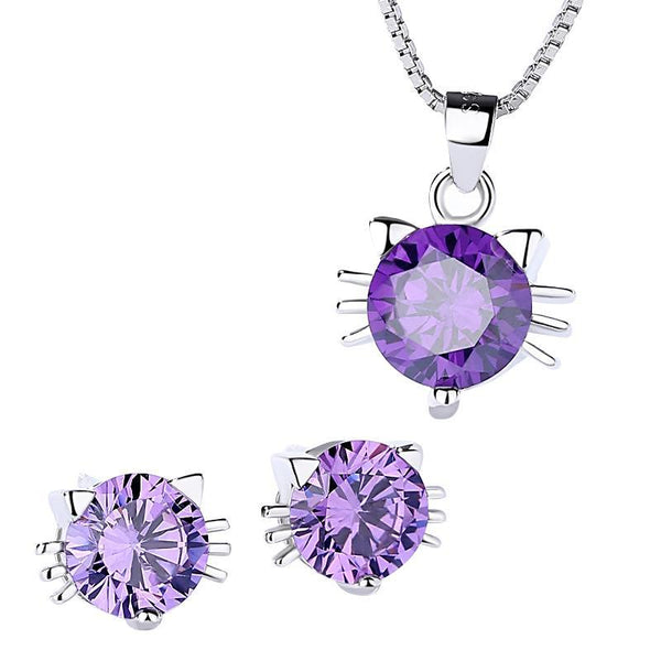 Cat Necklace, Ring and Earrings SET-Purple or Clear CZ in 925 Silver-Adorable!-The Pink Pigs, A Compassionate Boutique