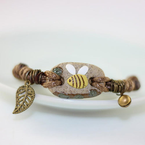 Ceramic Bee Charm Bracelet Bronze Mens/Ladies Wristband Bangle, So CUTE! - The Pink Pigs, Fine Jewels and Gifts for People who Love Animals!