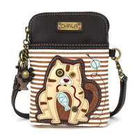 CHALA - CAT GEN II - CELLPHONE CROSS-BODY - BROWN STRIPE-The Pink Pigs, A Compassionate Boutique