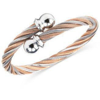 Charriol Women's Two Tone Twisted Stainless Steel Bracelet-The Pink Pigs, A Compassionate Boutique