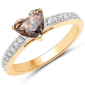 Chocolate Diamond Engagement Ring Heart Shaped, 18K Solid Gold Band