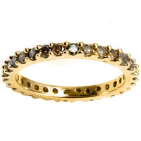 Chocolate Diamond Eternity Ring in 14K Yellow Gold-Stunning!-The Pink Pigs, A Compassionate Boutique