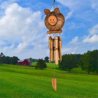 Coco Pig or Black Bear Bamboo Chimes by Woodstock Chimes-The Pink Pigs, A Compassionate Boutique