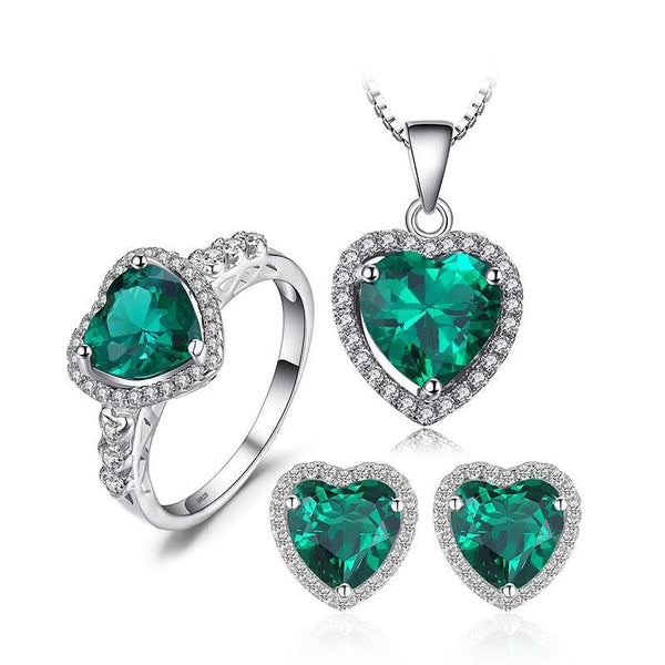 Created Emerald and CZ Heart Jewelry Set, Exquisitely Beautiful 6.1ctw!-The Pink Pigs, A Compassionate Boutique