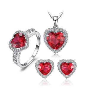 Created Ruby and CZ Heart Shape Jewelry SET in solid 925 Silver-Beautiful Gift Idea! - The Pink Pigs, Fine Jewels and Gifts for People who Love Animals!