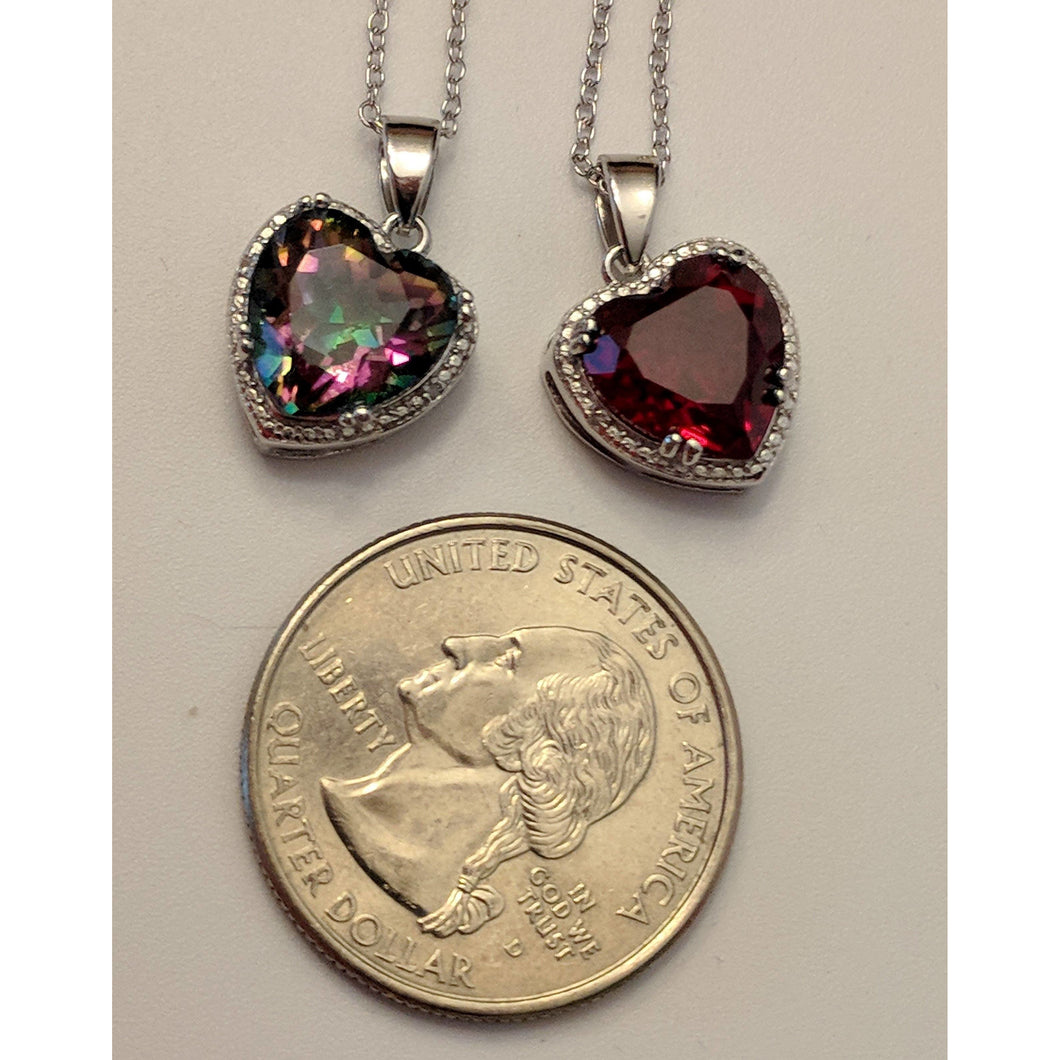 Created Ruby OR Mystic Topaz & Diamond Heart Necklace in 925 Silver--Romantic Gift! - The Pink Pigs, Fine Jewels and Gifts for People who Love Animals!