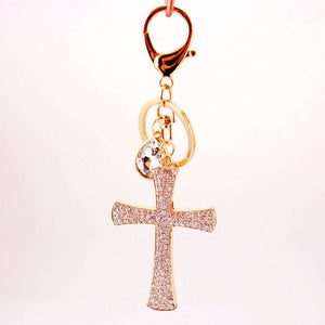 "Cross Keychain, Beautifully Sparkly with 2.5"" X 1.5"" Gold Plated Zinc - The Pink Pigs, A Compassionate Boutique"
