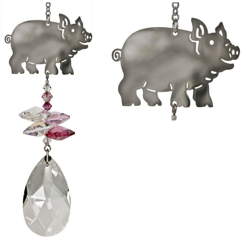 Crystal Animal Suncatchers, Rainbow Maker Pig, Cat & Dog! - The Pink Pigs, Fine Jewels and Gifts for People who Love Animals!