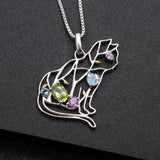 IN STOCK! Designer Cat Necklace Sterling Silver & REAL Gemstones! Garnet, Topaz-The Pink Pigs, A Compassionate Boutique