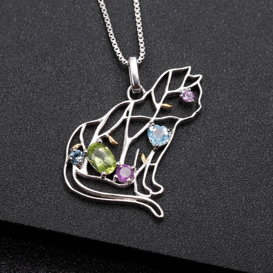 Designer Cat Necklace Sterling Silver & REAL Gemstones!  Garnet, Topaz
