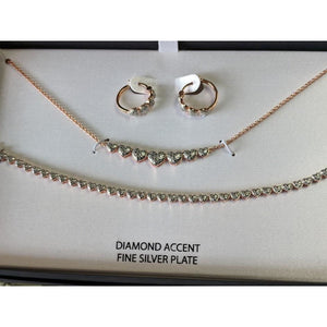 Designer Jewelry SET, Silver or Rose Gold Plated with REAL Diamond Accents
