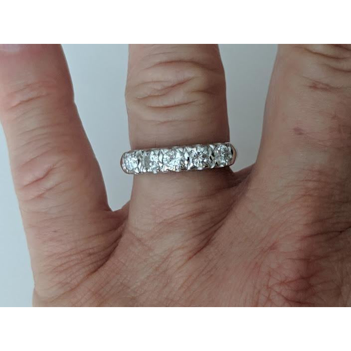 Diamond 5 Stone Anniversary Band .95ctw Of Sparkling Diamonds in 14K White Gold - The Pink Pigs, A Compassionate Boutique