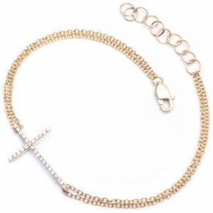 Diamond and 14K Gold Sideways Cross Jewelry, Bracelet Double Strand Yellow Gold