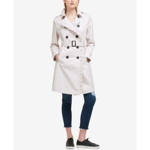 DKNY Ruffle-Trim Trench Coat Keeps the Weather at Bay Beautifully! Missing Belt - The Pink Pigs, Fine Jewels and Gifts for People who Love Animals!