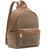 DKNY Zipper Faye Stud Logo Backpack Brown VEGAN, Beautiful Bag!-The Pink Pigs, A Compassionate Boutique