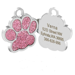 Dog ID Name Tags Beautiful Glitter Paw, Bone & More!  Personalized for Your Pet!