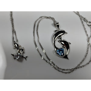 Dolphin Necklaces (4 Styles) in 925 Silver with Blue Cubic Zirconia - The Pink Pigs, Fine Jewels and Gifts for People who Love Animals!