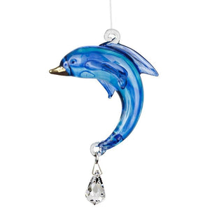 Dolphin, Seahorse or Coral Fish Suncatchers-Rainbow Makers!  Hand Made with Swarovski Crystal - The Pink Pigs, Fine Jewels and Gifts for People who Love Animals!