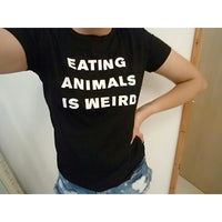 Eating Animals Is Weird: Fun T-Shirt with a Message!-The Pink Pigs, A Compassionate Boutique