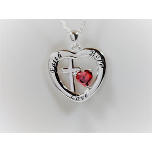 Faith, Hope and Love Sterling Silver Pendant with Red CZ Heart, Beautiful!-The Pink Pigs, A Compassionate Boutique