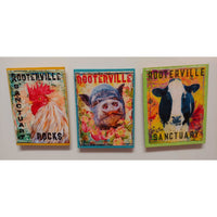 Farm Animal Magnets: Handmade Rooterville Animals on Magnets Rooster, Cow, Piggy-The Pink Pigs, A Compassionate Boutique