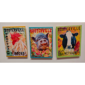 Farm Animal Magnets:  Handmade Rooterville Animals on Magnets Rooster, Cow, Piggy