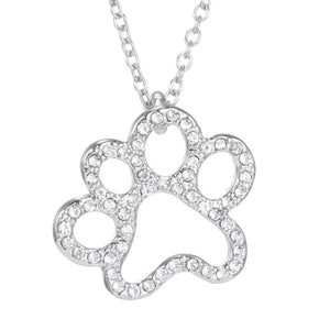 Fashion Silver Plated Black and White or White CZ Pet Paw Necklace-So Sweet for the Pet Lover!! - The Pink Pigs, Fine Jewels and Gifts for People who Love Animals!