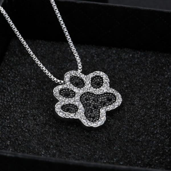 Fashion Silver Plated Black and White or White CZ Pet Paw Necklace-So Sweet for the Pet Lover!!-The Pink Pigs, A Compassionate Boutique