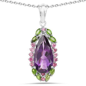 Genuine Amethyst, Chrome Diopside and Rhodolite .925 Sterling Silver Pendant - The Pink Pigs, Fine Jewels and Gifts for People who Love Animals!