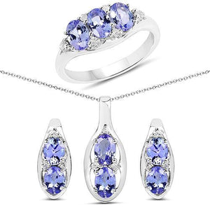 Genuine Tanzanite Jewelry Set in AFFORDABLE Sterling Silver Necklace/Earrings/Ring - The Pink Pigs, Fine Jewels and Gifts for People who Love Animals!