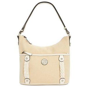 Giani Bernini Linen and White Tote Handbag-VEGAN - The Pink Pigs, Fine Jewels and Gifts for People who Love Animals!