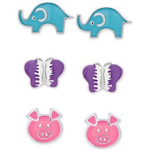Girls' Sterling Silver Earring Sets, 50% off Retail! - The Pink Pigs, Fine Jewels and Gifts for People who Love Animals!