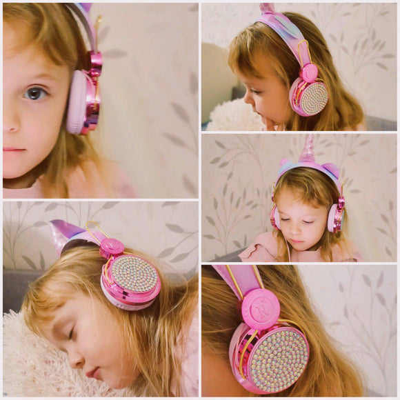 Girls Unicorn Headphone Set-SO CUTE! Beautiful Colors! Helps Rescued Animals!-The Pink Pigs, A Compassionate Boutique