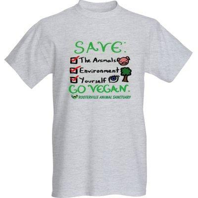 GO VEGAN!  Save You, the Planet and the Animals Rooterville T-Shirt - The Pink Pigs, Fine Jewels and Gifts for People who Love Animals!