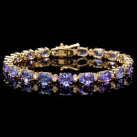 Gorgeous Deep Blue Tanzanite Bracelets in 14K Yellow or White Gold, Perfect Gifts!-The Pink Pigs, A Compassionate Boutique
