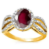 Gorgeous Persian Garnet and Diamond Ring in 10K Solid Gold-The Pink Pigs, A Compassionate Boutique