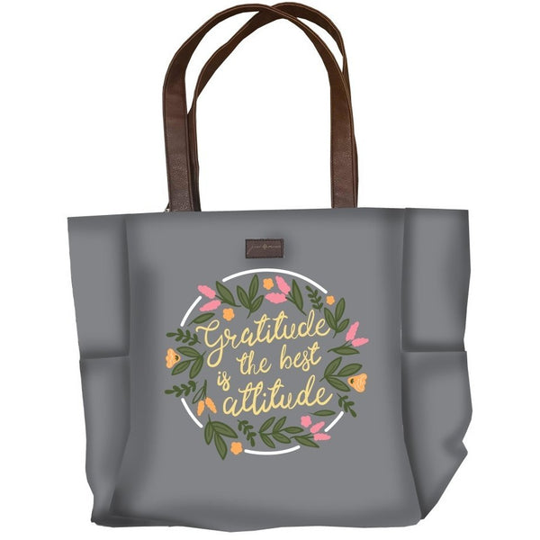 Gratitude is The Best Attitude Jane Marie Grey Tote-The Pink Pigs, A Compassionate Boutique
