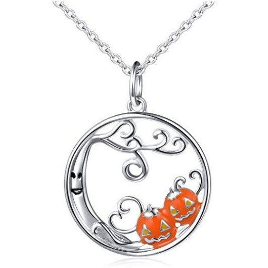 Haunted Tree and Pumpkins Pendant Necklace in 925 Silver, Spooky Good Fun!-The Pink Pigs, A Compassionate Boutique