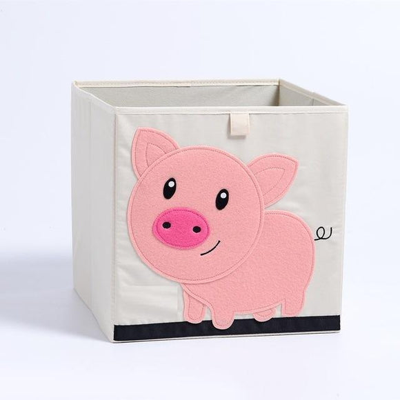 Heavyweight Foldable Canvas Animal Storage Box for Kids: Large with Lids - The Pink Pigs, A Compassionate Boutique
