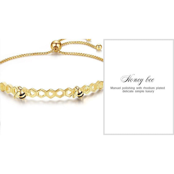 Honey Bee Bracelets and Rings In Yellow Gold Plated 925 Silver, Sweeter than Honey!-The Pink Pigs, A Compassionate Boutique