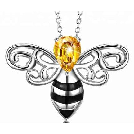 Honey Bee Pendant with Sparkling Yellow CZ Head in 925 Silver-The Pink Pigs, A Compassionate Boutique