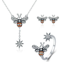 Honey Bee With a Star Jewelry SET : Ring, Necklace, Earrings-The Pink Pigs, A Compassionate Boutique
