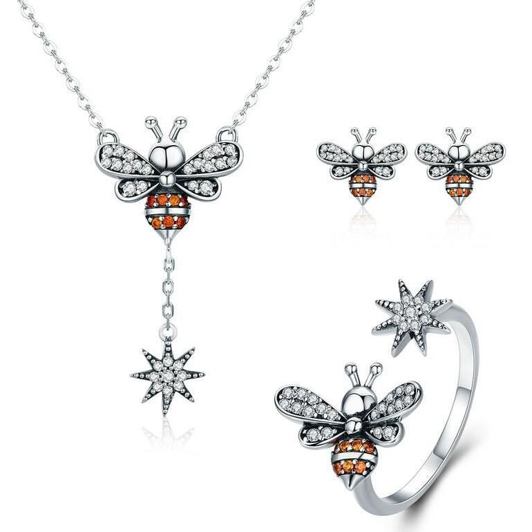 Honey Bee With a Star Jewelry SET : Ring, Necklace, Earrings